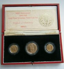 More details for 1989 500th anniversary gold proof three coin sovereign set boxed - with coa