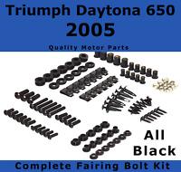 Complete Black Fairing Bolt Kit body screws for Triumph Daytona 650 2005