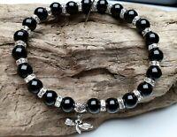 Achat schwarz Armband Libelle Edelstein Perlen elastisch Stretch Zirkona Ø 8 mm