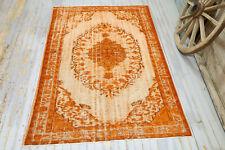 5.8x8.6 Orange Vintage Turkish Area Rug, Modern Contemporary Over dye Handmade