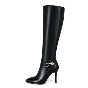 Womens Shoes Genuine Leather Stilettos High Heels Zip Up Knee Boots UK Size b060