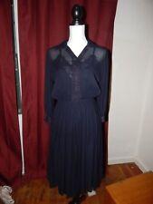 True vintage 1930's - 1940's Navy blue woman dress transparent pleated 2 sizes