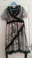 Next black and off white floral short sleeve summer dress - size UK 12