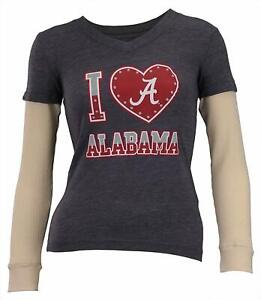 Outerstuff NCAA Youth Girls Alabama Crimson Tide Long Sleeve Tee, Grey