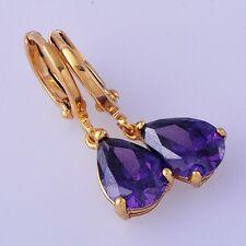 Fashion jewelry Womens purple amethyst Yellow Gold Plated Drop/Dangle Earrings