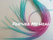 "Whiting Ombre Tie Dye Multi Colored Feather Hair Extension 9""-12"" Long"