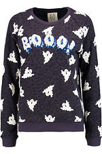 ZOE KARSSEN BOOO! ghost sweatshirt sequin top goth gothic halloween asos S BNWT