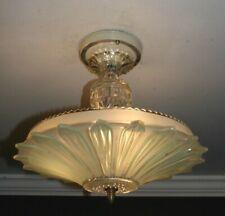 Antique green glass sunflower art deco light fixture ceiling chandelier 1940s