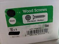 """100 Steel Flat head Phillips Wood Screws 16 x 3"""""""