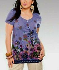 Free Postage-BNWT Ladies Petite Violet Floral Button Front Shortsleeve Top 16-18