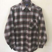 Pendleton 100% Virgin Wool Brown Plaid Shirt  Men's S USA Made