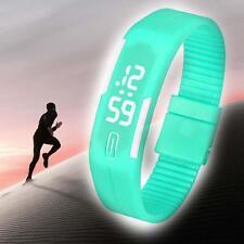 Men Silicone LED Sports Bracelet Waterproof Digital Wrist Watch Women Green M UP