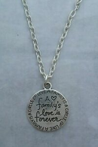 Tibetan Silver A FAMILY'S LOVE IS FOREVER Pendant with Necklace. CIRCLE OF LOVE.