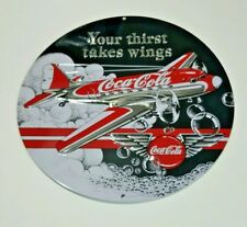 Coca-Cola Sign Embossed Tin Metal Ande Rooney Pop Airplane Bar Man Cave Decor 3D