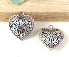 2pcs Antique Silver Brass Filigree Heart Locket Charm Pendants 24mm A303-1