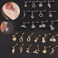 Barbell Bar Surgical Steel Ear Studs Star Shape Tragus Earrings Cartilage Helix