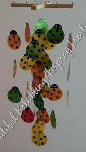 Ladybird/ladybug capiz shell windchime Bali handmade GREEN ORANGE YELL FREEPOST