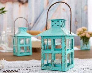 Blue Mini Lantern Vintage Theme Rustic Wedding Table Decor Party Favors MW34091