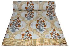 Indian Cotton Kantha Bedspread Quilt Hand Block Print Twin Size Blanket Throw