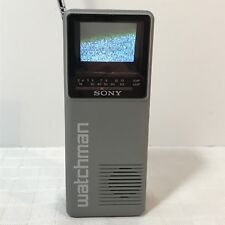 "Sony Watchman Fd-10A 2"" Crt B&W Handheld Portable Television Tv Working Uhf Vhf"