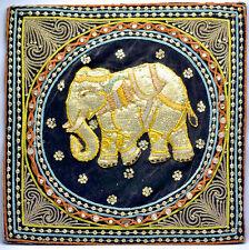ANTIQUE BURMESE KALAGA HAND BEADED TAPESTRY THREAD EMBROIDERY ELEPHANT