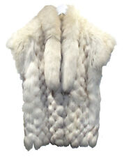 SAGA Natural Blue Fox Vest sz M Two Stunning Tails