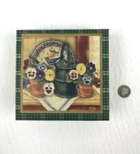 1996 Legacy Publishing Group Set Of 6 Cork Back Coasters In Floral Storage Box
