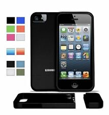 Case Cover For Apple iPhone 5 Black Slider Protector Rubberized Texture Khomo