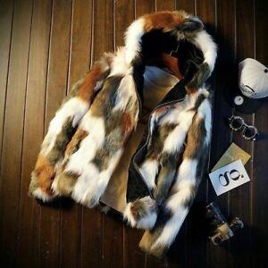 New Men's Hooded Faux Fur Slim Coat Overcoat Winter Warm Short Outwear Jacket