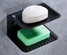 Bathroom Bath Shower Soap Dish Holder Aluminum Space Black Wall Mounted Double