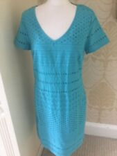 New Per Una Ladies Cotton Broderie Dress Turquoise Gorgeous 12 14