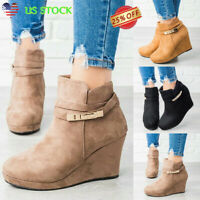 Womens Suede Wedge Heel Chunky Boots Ladies Zipper Round Toe Ankle Shoes Booties