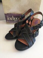 NIB Women's Clark Indigo Black Leather Sandals Size 8-1/2