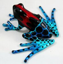 Handcrafted Frog Amphibian Figurine Animal Hand Blown Glass Blue Red Black Dot
