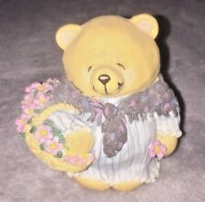 Forever Friends Lady Teddy Bear with Basket of Flowers Gift/Love Figurine
