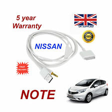 For Nissan Note iPhone, 3GS 4 4s iPod USB & Aux 3.5mm Cable White