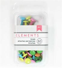 American Crafts Elements PASTEL Medium Brads 8mm 50/pk Spring Pink Blue 366341