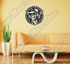 "Outlaw Skull Cowboy Revolver Gun Wall Sticker Interior Decor 22""X22"""
