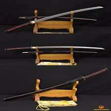 Full Tang Black&Red DAMASCUS Katana Japanese Samurai Sharp Blade Sword HANDMADE