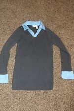 In Due Time Maternity Gray Sweater Blue Cuffs Collar Large L