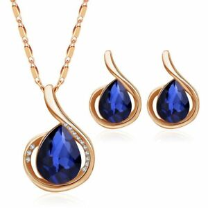 Rose Gold sapphire leaf Curly jewellery set of stud stone earrings necklace S997