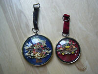Vintage Dried Flowers in Convex/ Bubble Glass HandMade in Belgium, Lot of 2