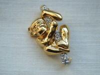 Vintage gold tone diamante stones monkey brooch pin
