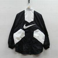 Vintage Nike Windbreaker Jacket Womens Medium Black White 90s Embroidered Swoosh