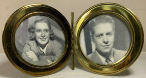Unique Vintage Brass Clamshell Frame Signed Jean Arthur & Nelson Eddy