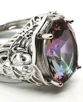 Genuine Rainbow Fire Topaz Mystic Ring Solid 925 Sterling Silver Fine Jewelry UK