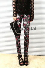 New Lady Girl Red Black Sexy Pirate Skull Pattern Soft Stretch Tights Pants