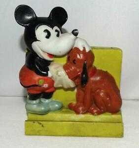 EX! DISNEY 1930's MICKEY MOUSE/PLUTO BISQUE TOOTHBRUSH HOLDER-LIME GREEN BASE