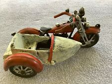 Antique/Vintage/Old Cast Iron Motorcycle With Side Car Toy
