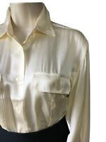 Women's UK 12 Silk Satin Button-Up Shirt Ivory Cream Utility Top Blouse Pockets